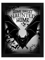 Bats Home Sweet Haunted Home Mirrored Tin Sign / 壁掛けミラー【GRINDSTORE】