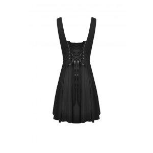 画像2: 【DW522】Pleated lace up back suspenders skirt / サロペットスカート【DARK IN LOVE】