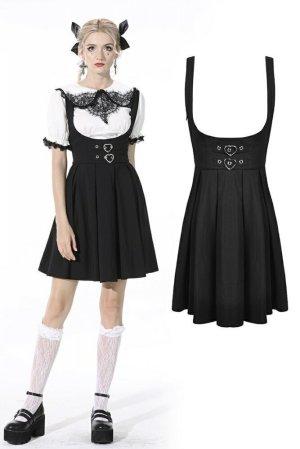 画像1: 【DW522】Pleated lace up back suspenders skirt / サロペットスカート【DARK IN LOVE】